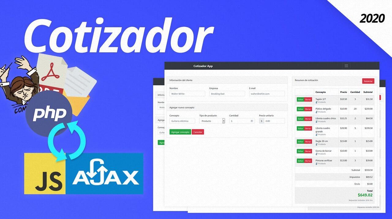 Como hacer un sistema con PHP AJAX y Javascript cotizador